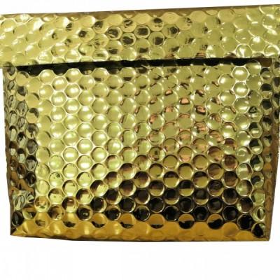 隔热气泡立体袋 金色铝箔气泡包装袋带魔术贴自粘 防震隔热袋